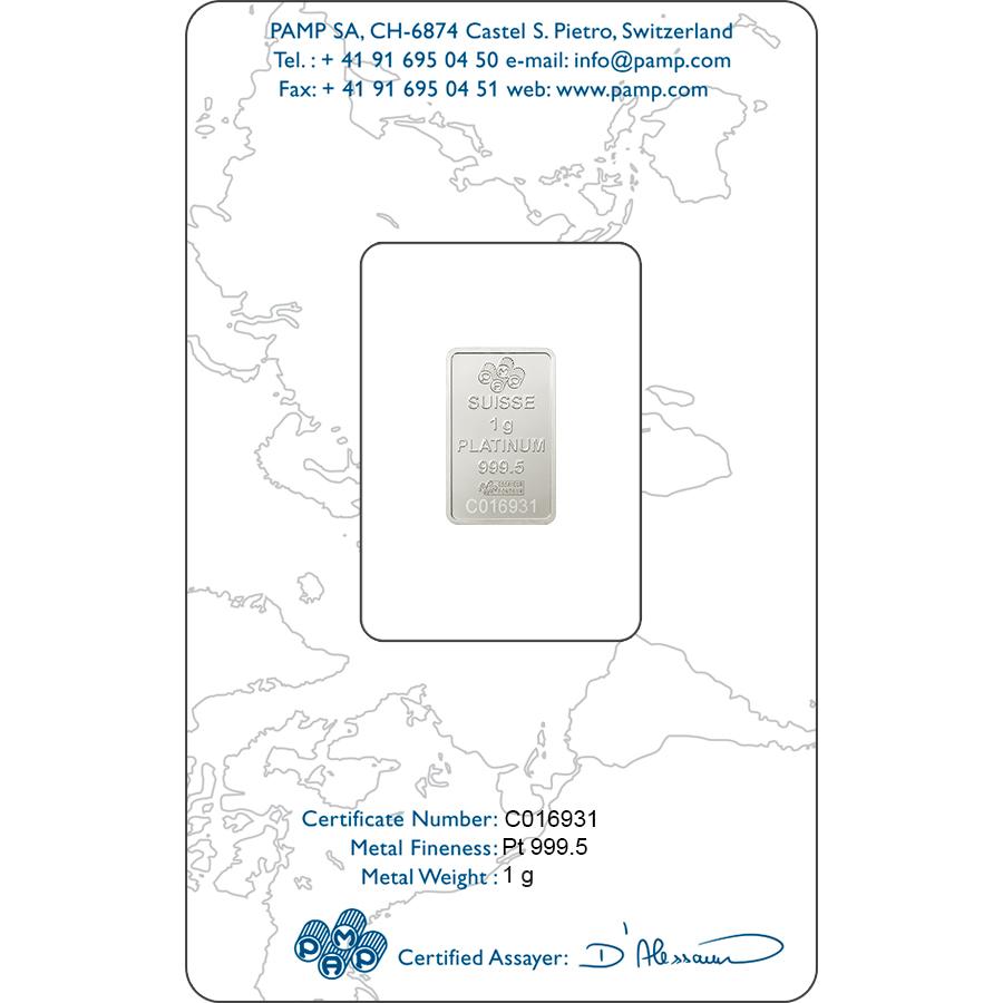 Achat d'or 1 gramme Lingot, Lingotin de Platine Pur Lady Fortuna - PAMP Suisse - Certi-PAMP - Back