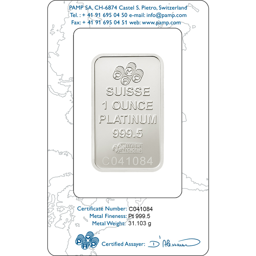 Comprare 1 oncia lingottino di platino puro 999.5 - PAMP Suisse Lady Fortuna - Certi-PAMP - Back