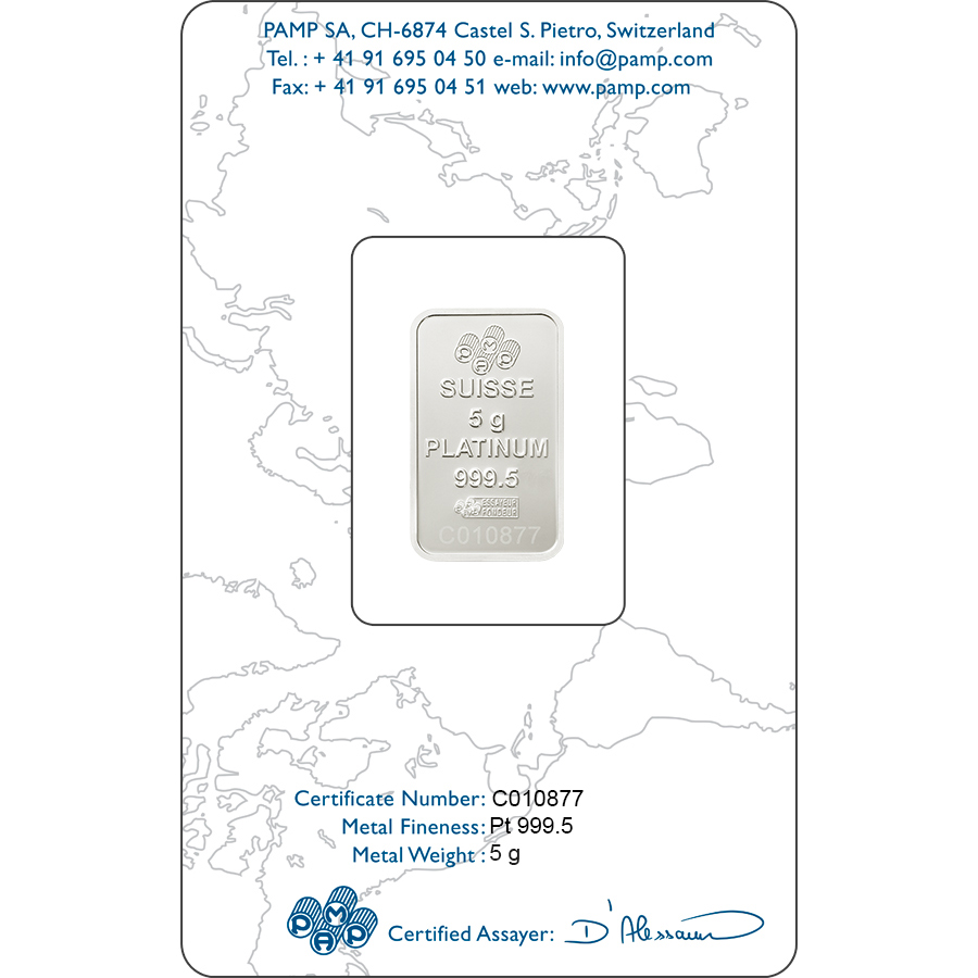 Comprare 5 grammi lingottino di platino puro 999.5 - PAMP Suisse Lady Fortuna - Certi-PAMP - Back