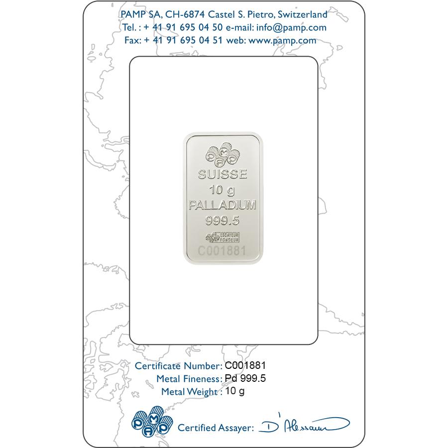 Kaufen Sie 10 Gramm FeinPalladiumbarren Lady Fortuna - PAMP Suisse - Certi-PAMP - Back