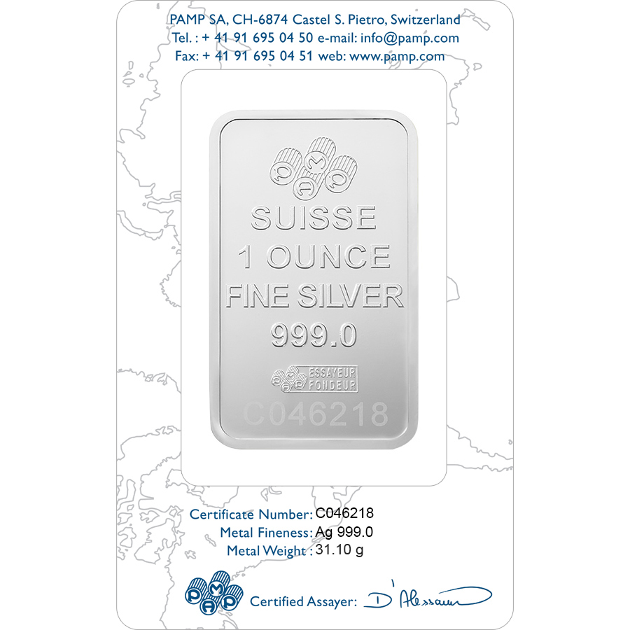 Buy 1 oz Fine Silver Lady Fortuna - PAMP Suisse - Certi-PAMP - Back