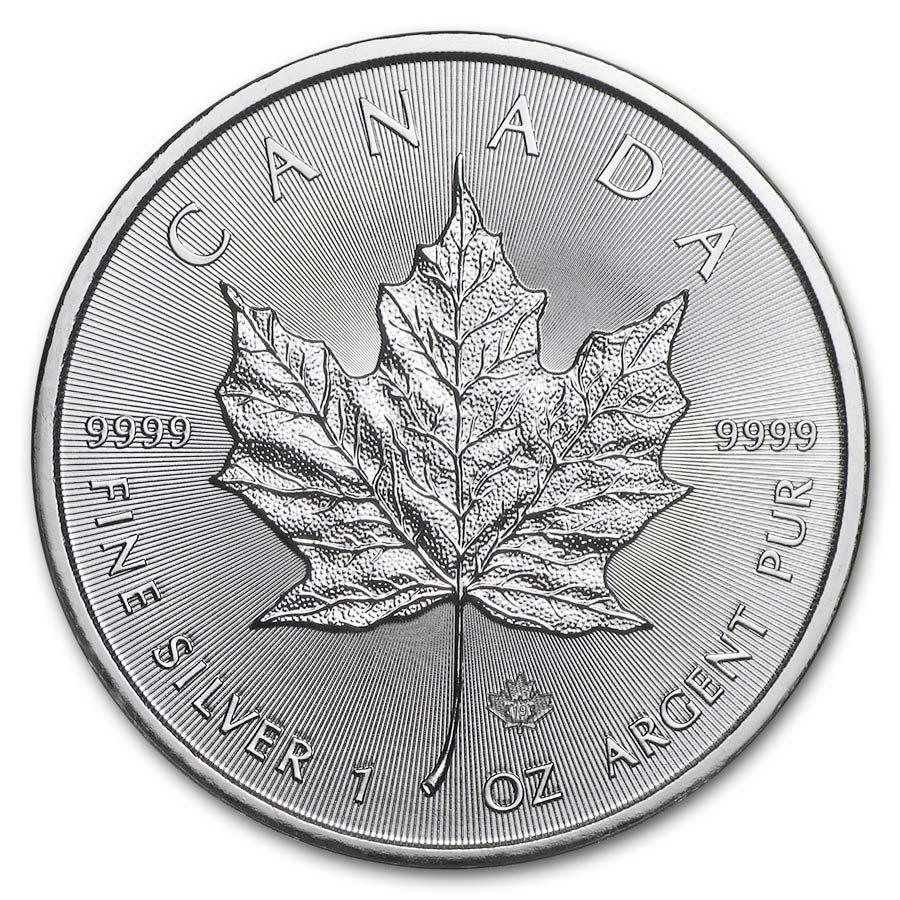 Investire in Tubo di 25 Monete - 1 oncia moneta d'argento puro 999.9 Maple Leaf -  Zecca Reale Canadese - Front