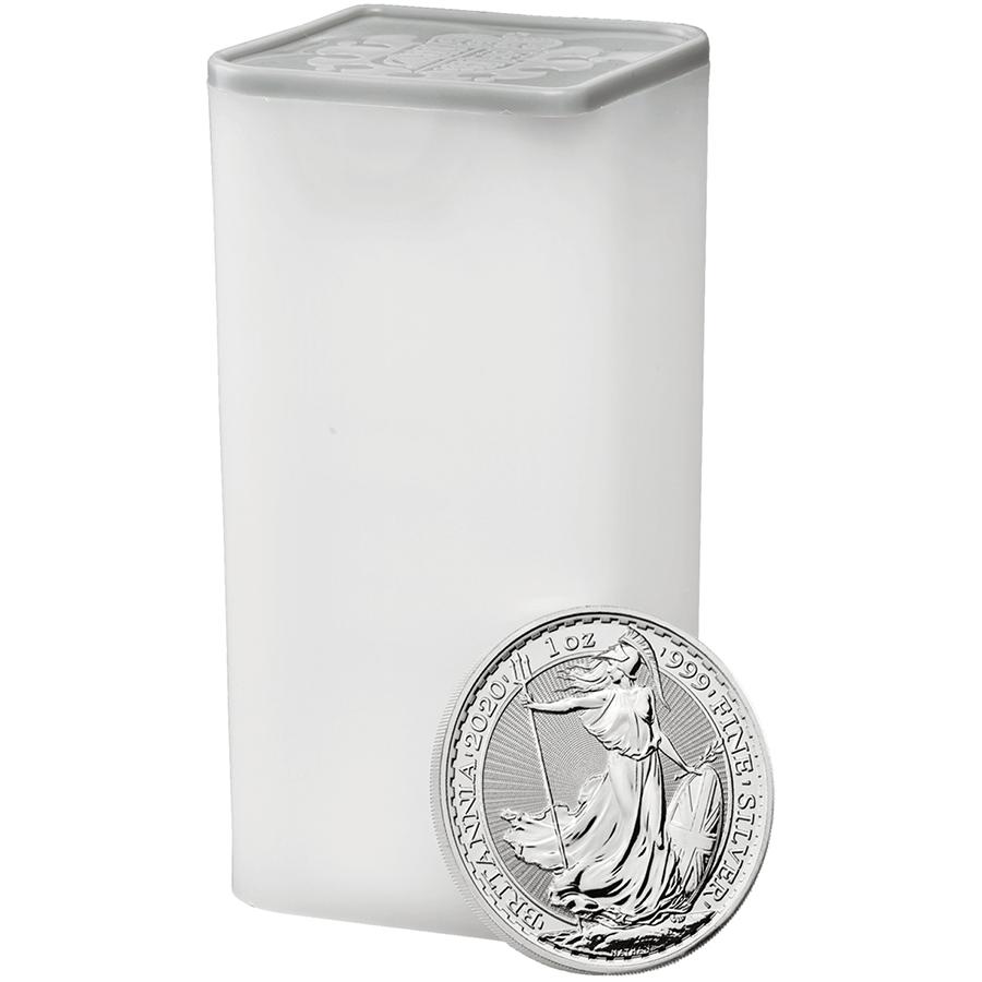 Comprare Tubo di 25 Monete Britannia d'Argento -  Zecca Reale - Monete Tubo