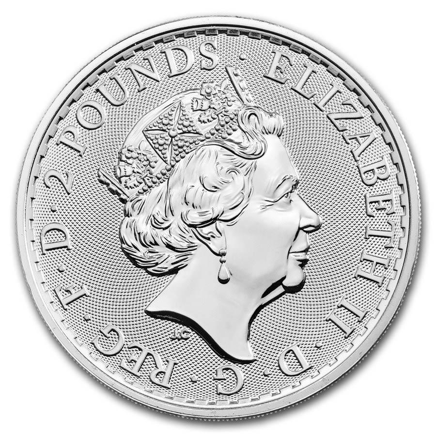 Comprare Tubo di 25 Monete - 1 oncia moneta d'argento puro 999.0 Britannia  - Zecca Reale - Back