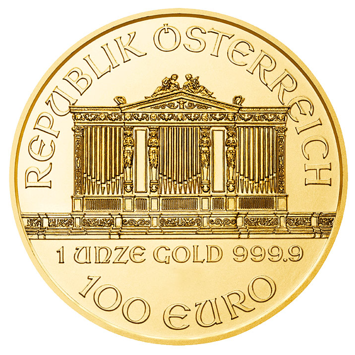 Investieren Sie in 1 oz Feingoldmünze Philharmonic - Austrian Mint - Back