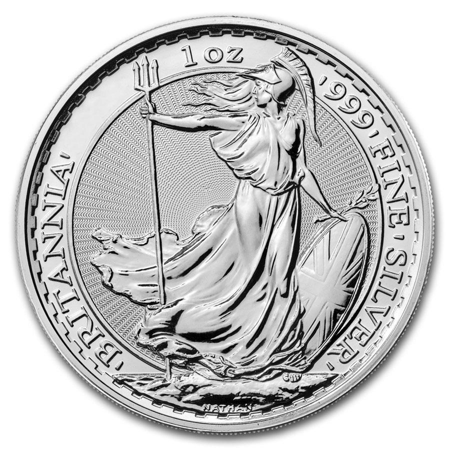 Tubo di 25 Monete Britannia d'Argento (Anni Misti)