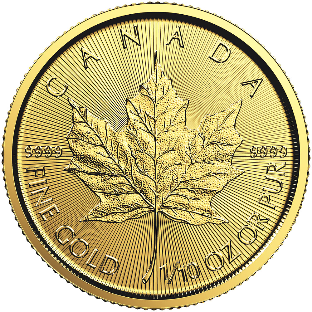 1/10 oz Gold Coin -  Maple Leaf BU 2018