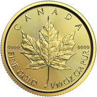 Maple Leaf en or de 1/10 once BU - 2018