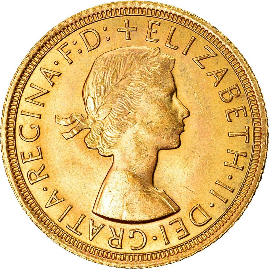 Fine Gold Coin 916.7 - Sovereign Young Elizabeth