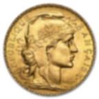 Fine Gold Coin 900.0 - 20 French Francs Napoléon (Coq de Chaplain)