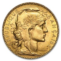 Gold Coin - 20 French Francs Rooster Random year