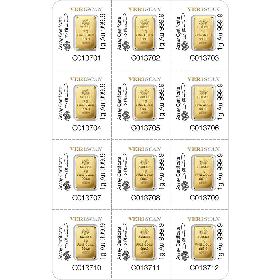 12x1 grammo multigrammo lingottino d'oro puro 999.9 - PAMP Suisse Lady Fortuna Veriscan