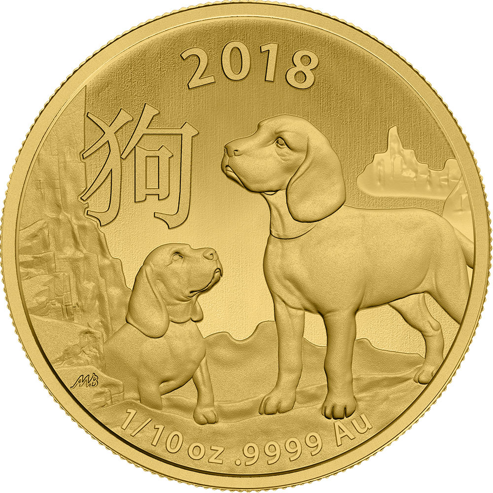 2018 Australia 1/10 oz Gold Lunar Dog BU