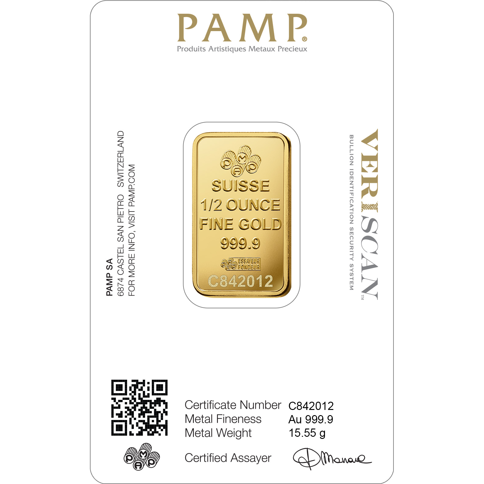 1 2 Oz Gold Bar Pamp Suisse Lady Fortuna Veriscan Gold