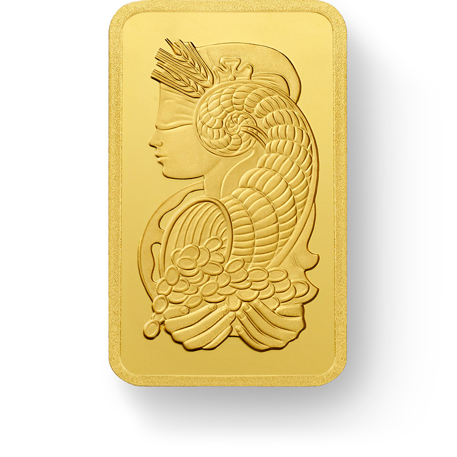 Purchase 100 grams Fine gold Lady Fortuna - PAMP Swiss - Front
