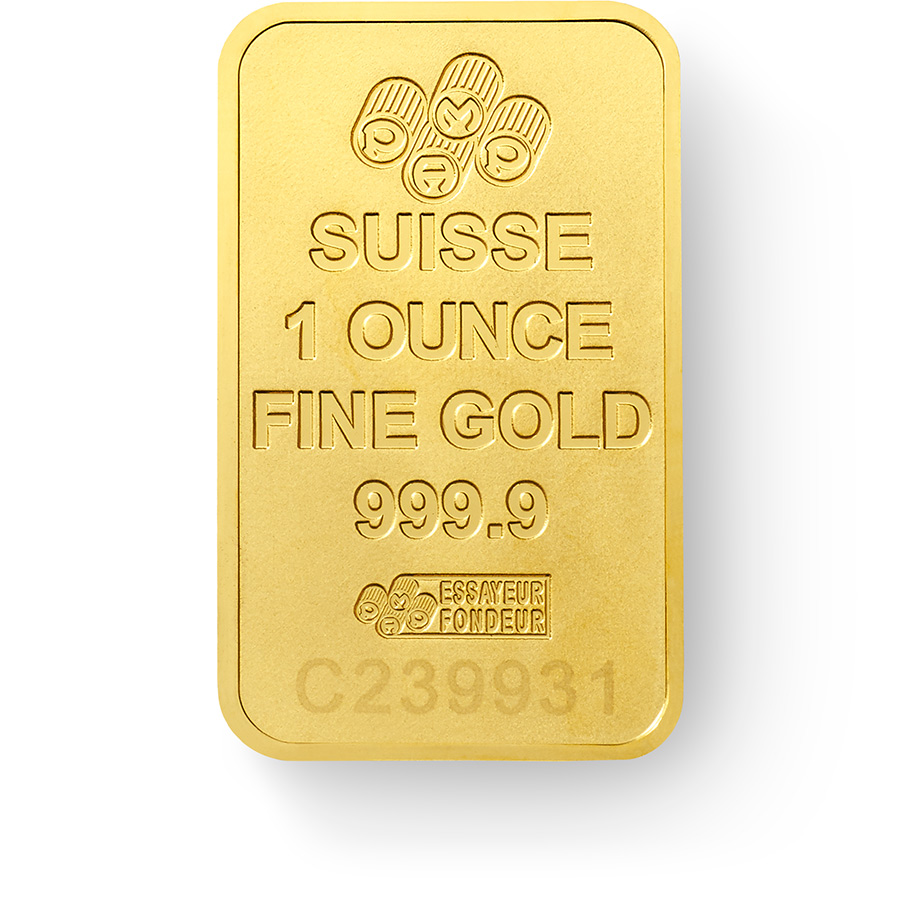 1 once lingotin d'or pur 999.9 - PAMP Suisse New Design