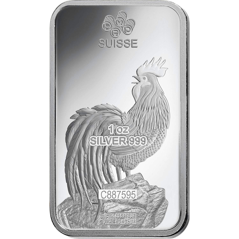 1 oz Silver Bar - PAMP Suisse Lunar Rooster