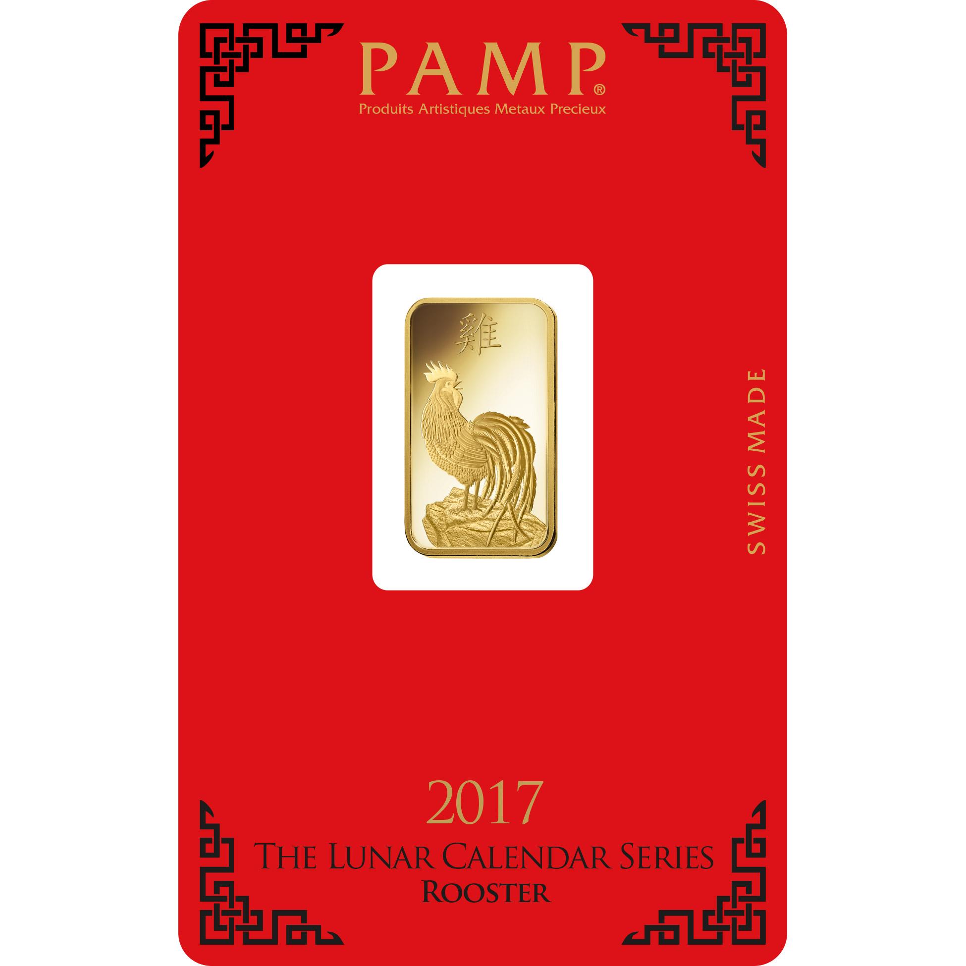 5 grammi lingottino d'oro puro 999.9- PAMP Suisse Lunar Gallo