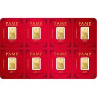 8 x 1 gram Gold Bar PAMP Suisse Lunar Rooster