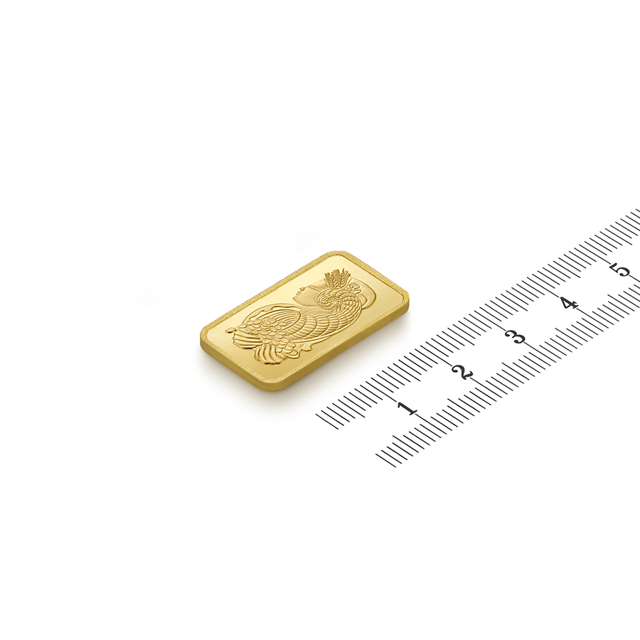 Invest in 10 grams Fine gold Lady Fortuna - PAMP Swiss - Ruler view