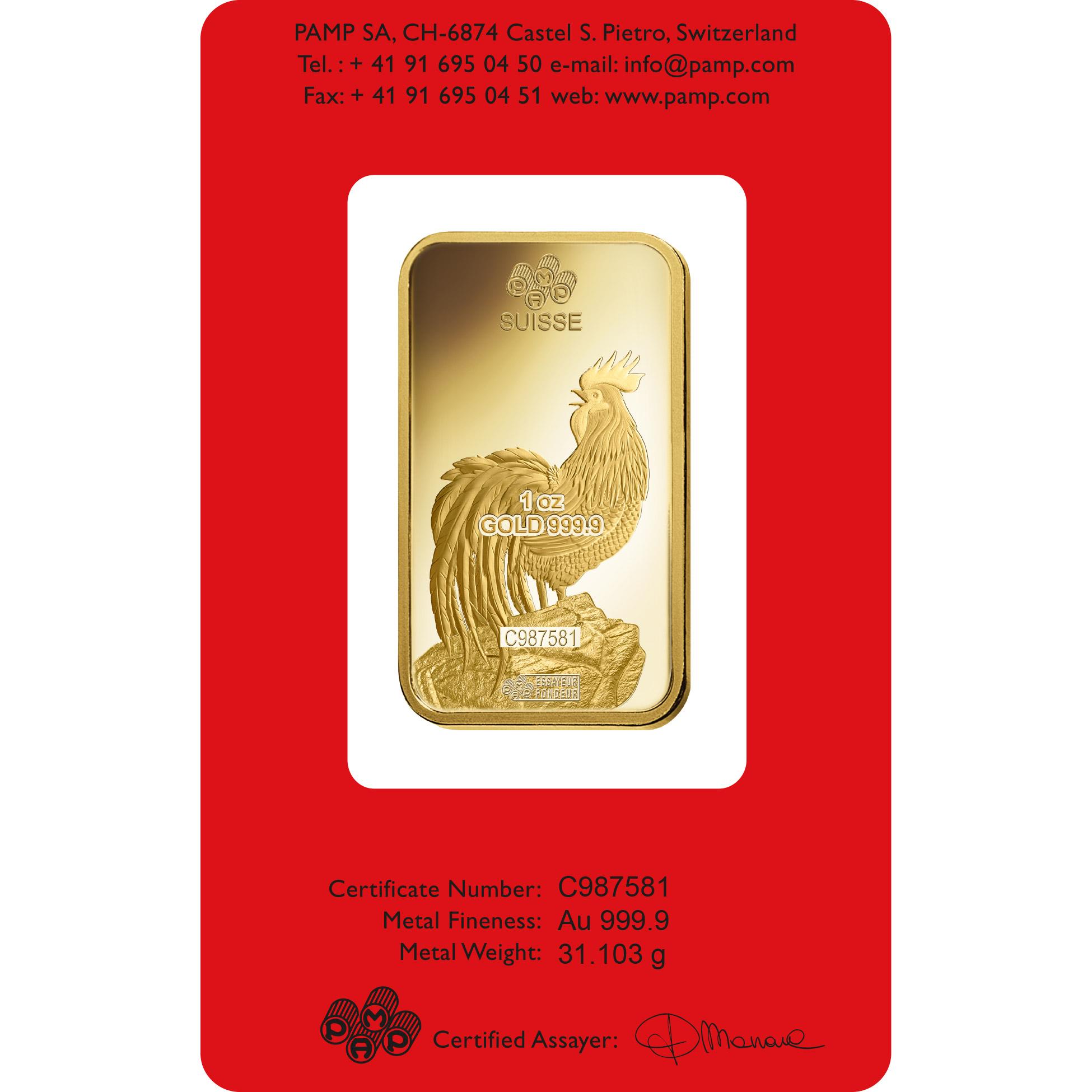 1 Unze Goldbarren - PAMP Suisse Lunar Hahn