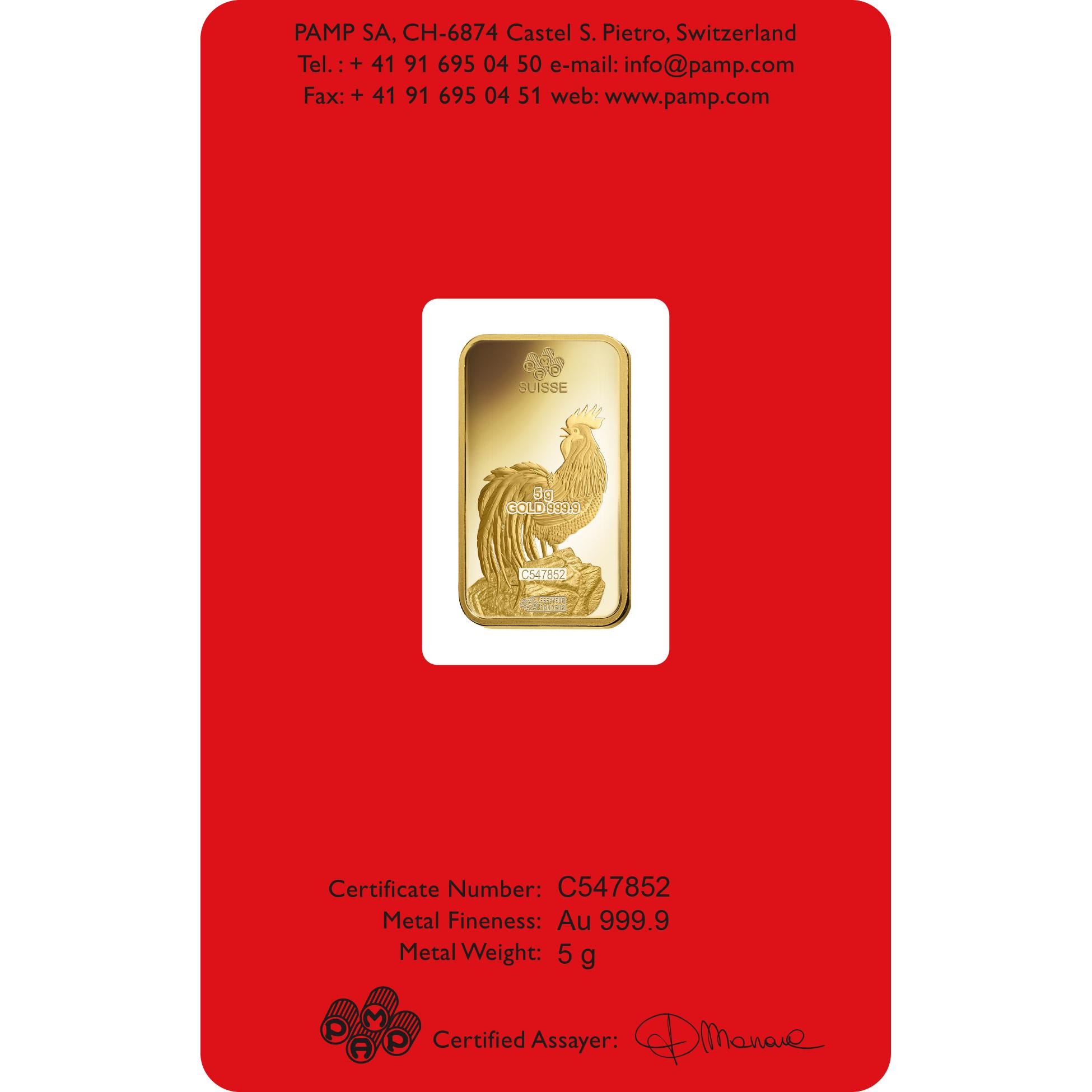 5 gram Fine Gold Bar 999.9 - PAMP Suisse Lunar Rooster