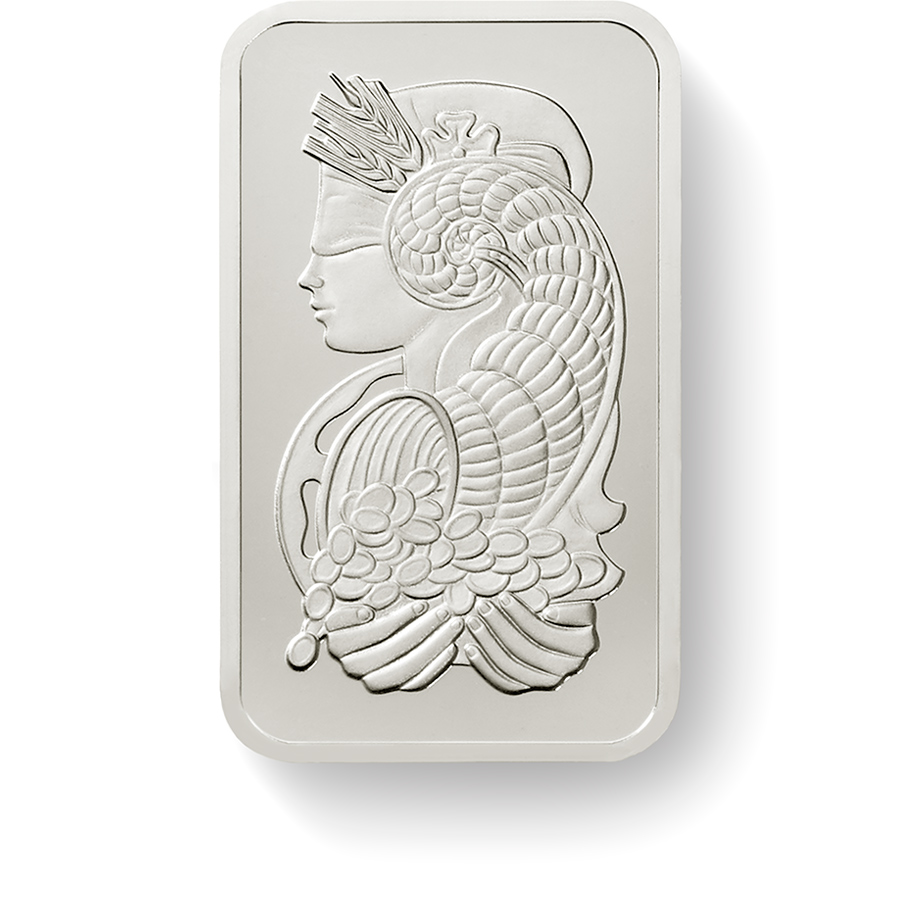 Invest in 1 Oz Fine Platinum Lady Fortuna - PAMP Suisse - Front