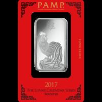 Lingotin d'argent de 1 once - PAMP Suisse Lunar Coq