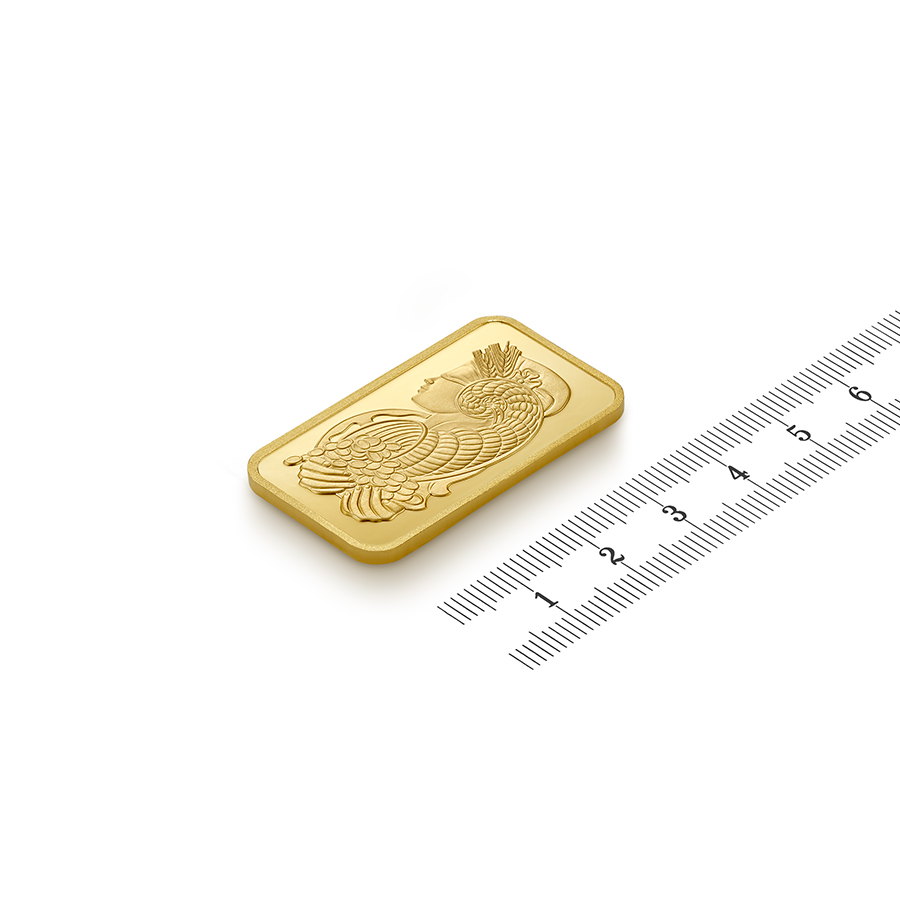 Acquistare 1 oncia lingottino d'oro puro 999.9 - PAMP Suisse Lady Fortuna - Ruler view