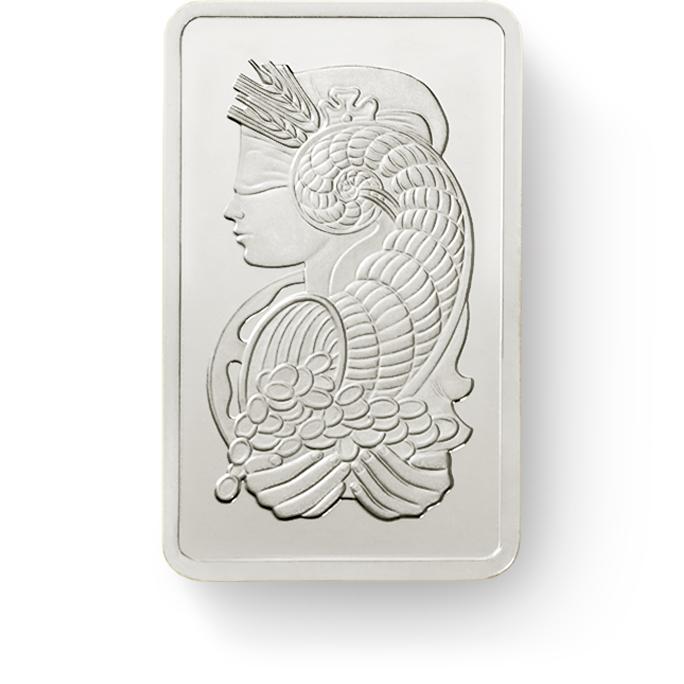 investir dans l'or, 1 gramme Lingot, Lingotin de Platine Pur Lady Fortuna - PAMP Suisse - Front