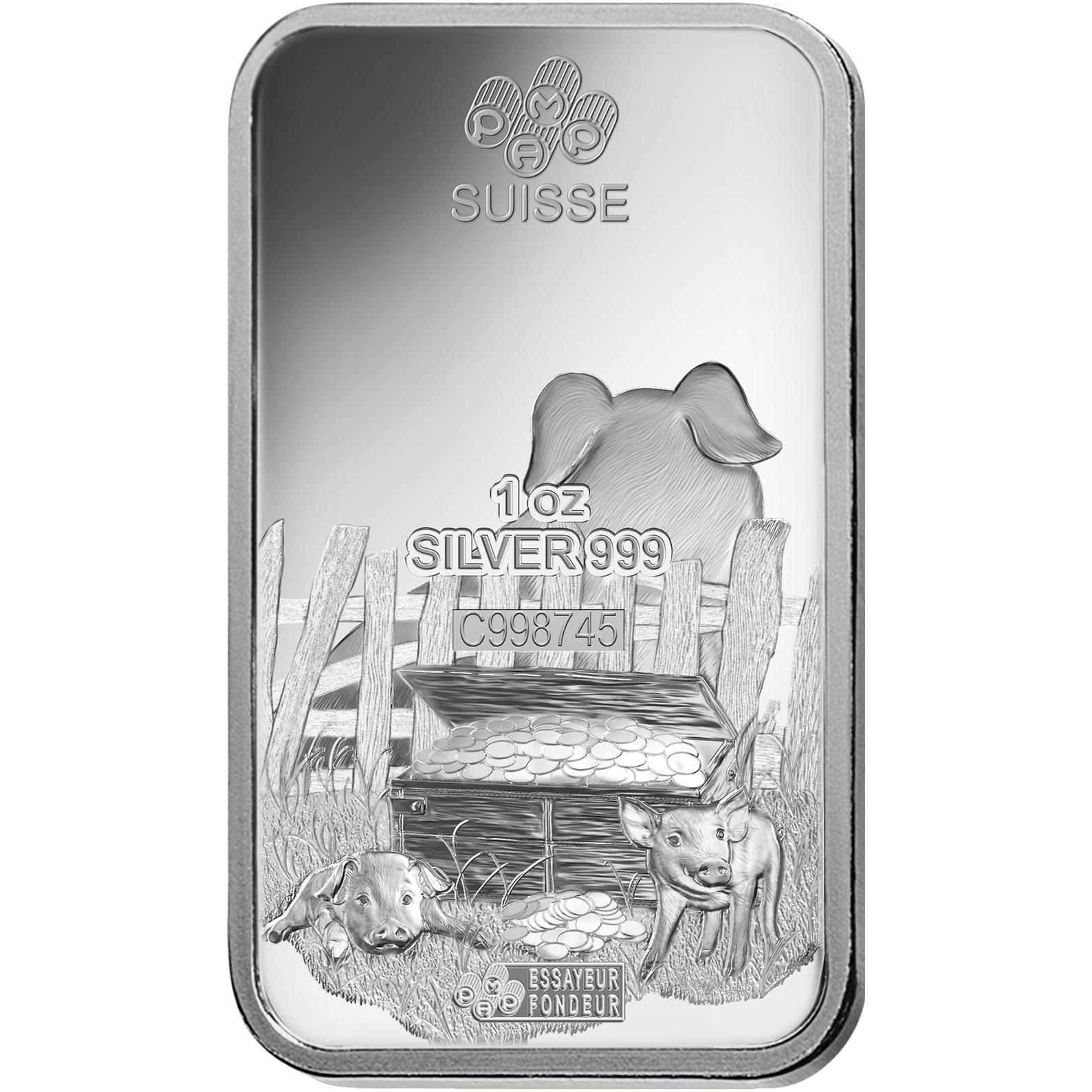1 oncia lingottino d'argento puro 999.0 - PAMP Suisse Maiale Lunare