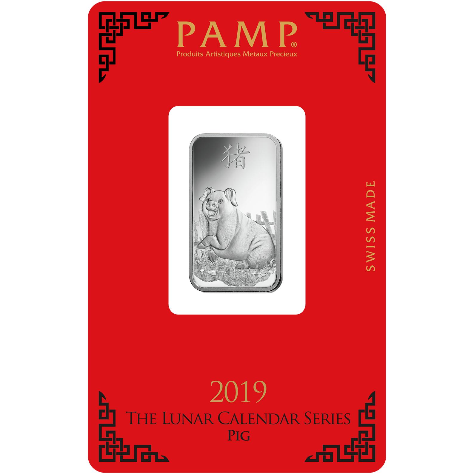 Lingot d'argent de 10 grammes - PAMP Suisse Lunar Chien
