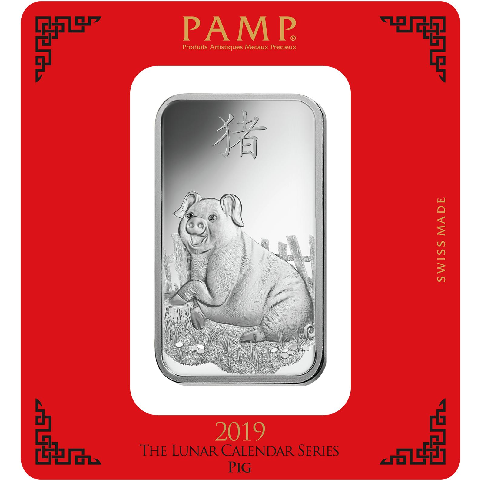 Lingot d'argent de 100 grammes - PAMP Suisse Lunar Cochon