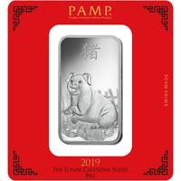 100 grammi lingottino d'argento - PAMP Suisse Maiale Lunare