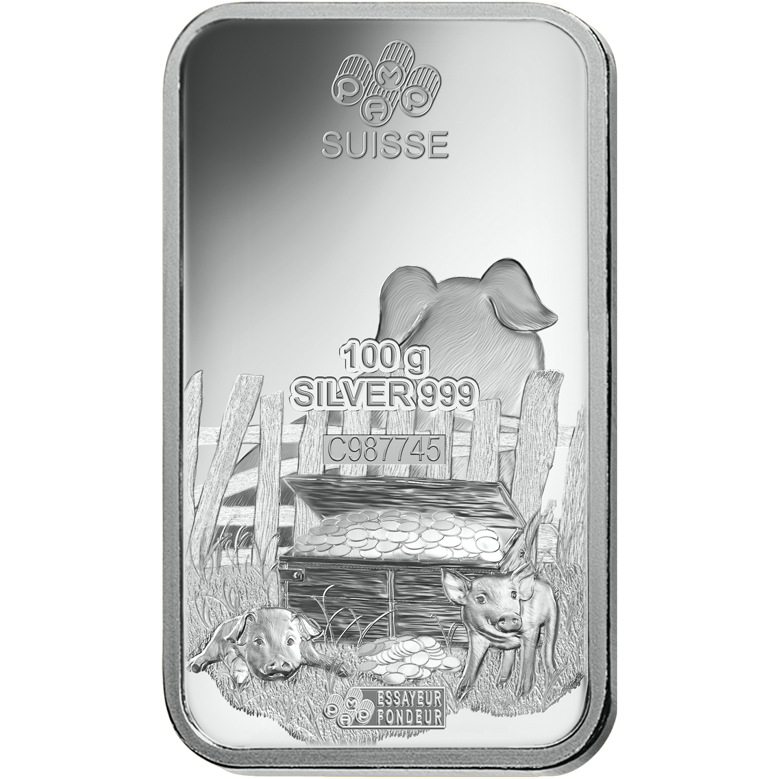 100 grammi lingottino d'argento puro 999.0 - PAMP Suisse Lunar Maiale