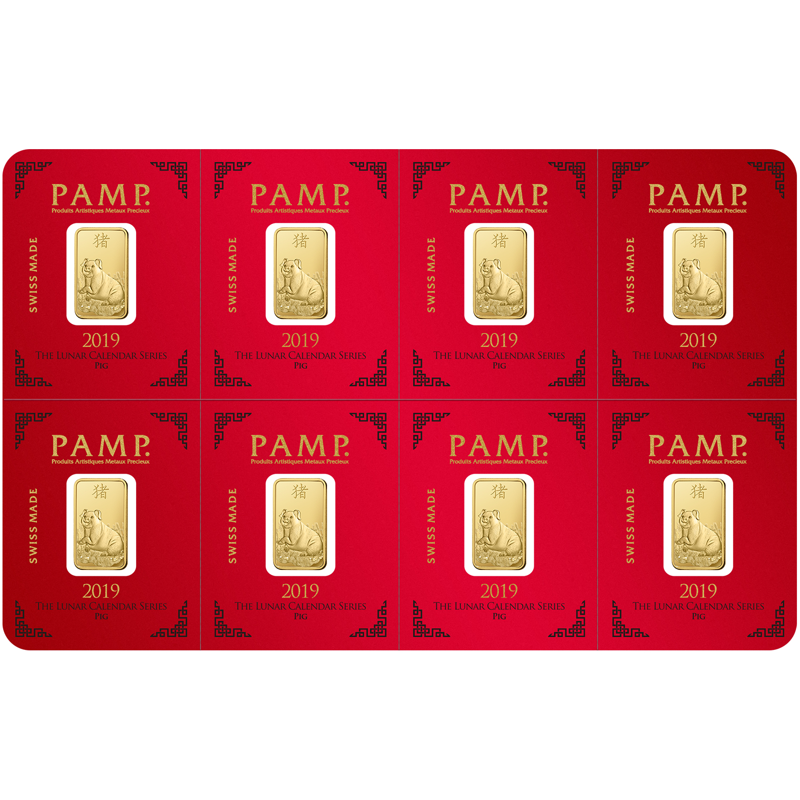8x1 gram multigram Gold Bar - PAMP Suisse Lunar Pig