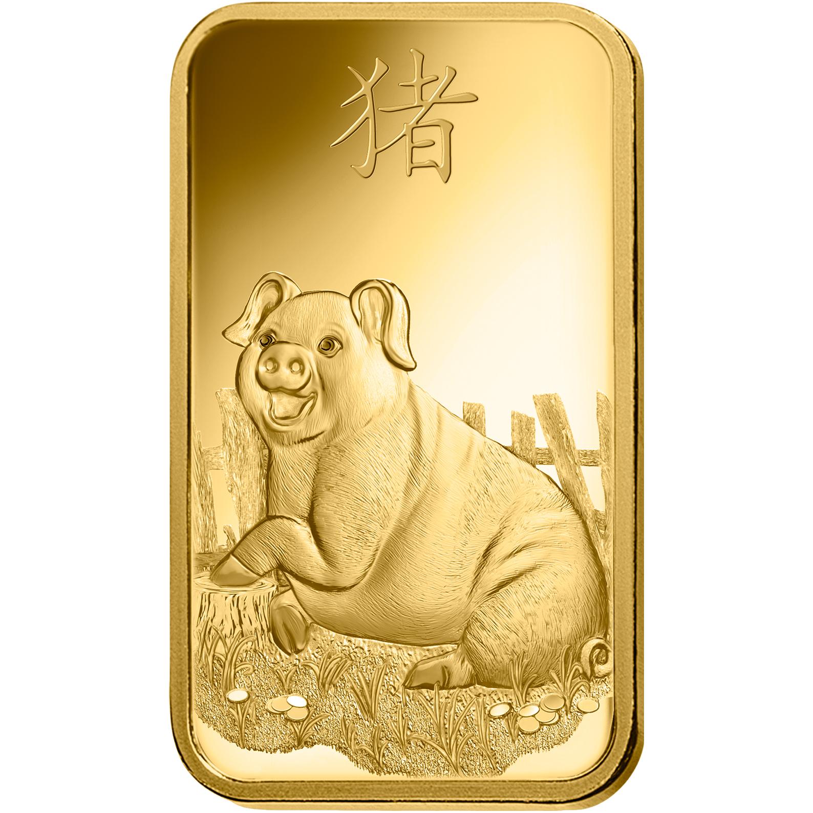 100 Gramm Goldbarren - PAMP Suisse Lunar Schwein