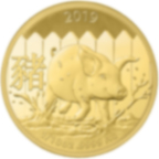 1/10 oz Fine Gold Coin 999.9 - Lunar Pig BU 2019