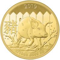 2019 Maiale Lunare d'oro 1/10 oncia BU