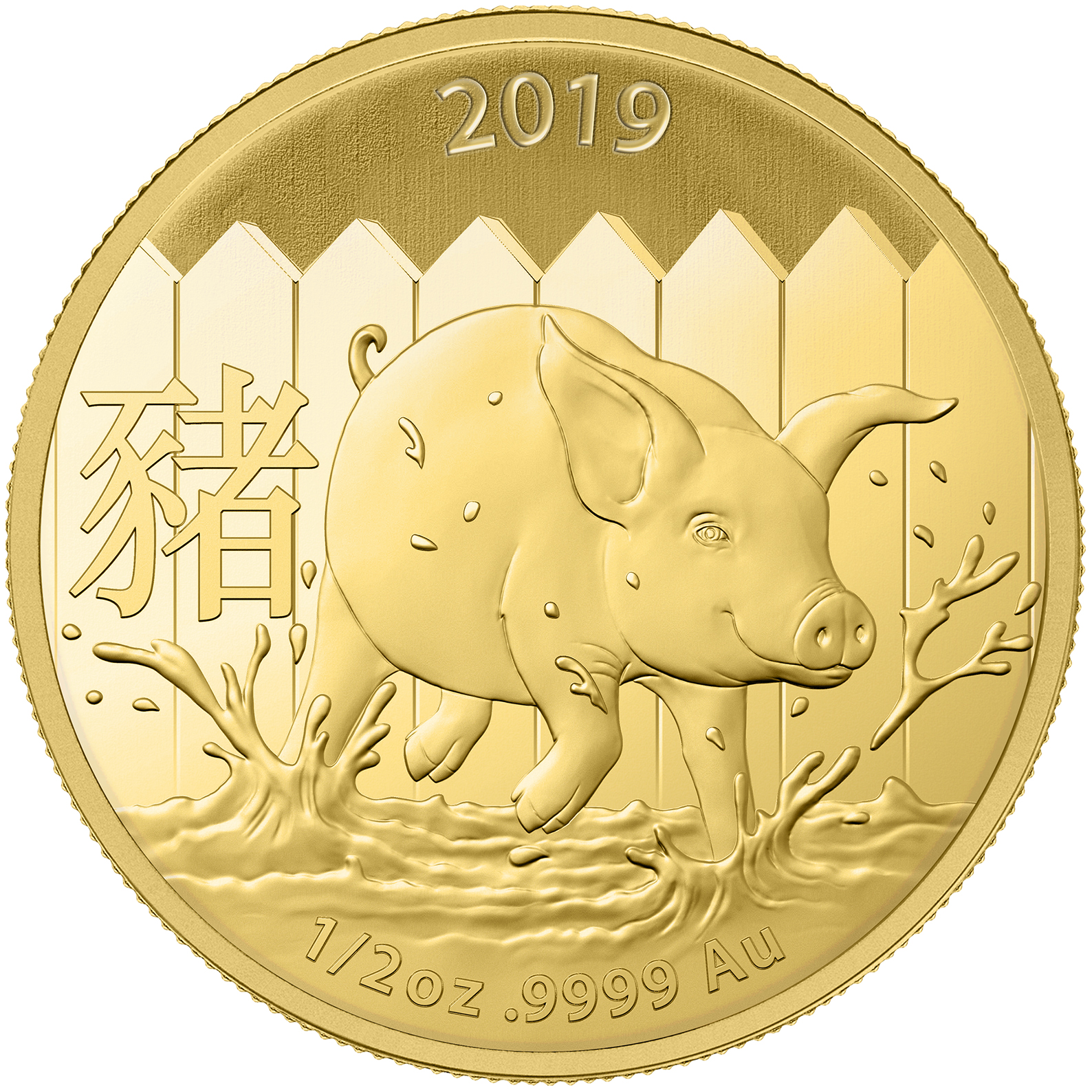 2019 Australia 1/2 oz Gold Lunar Pig BU