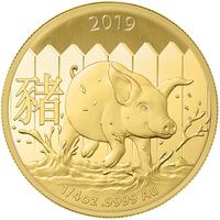 2019 Maiale Lunare d'oro 1/4 oncia BU