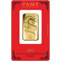 1 oz Gold Bar - PAMP Suisse Lunar Dragon