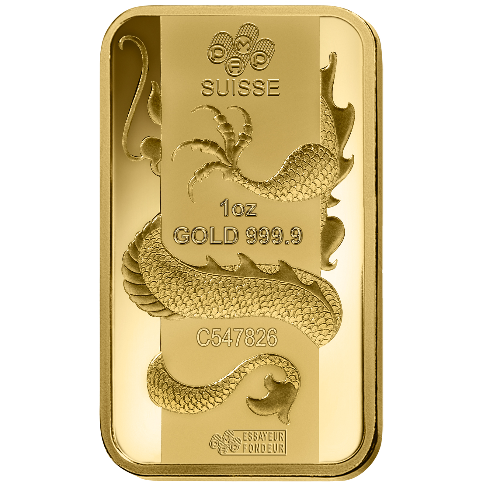 1 oz Gold Bar - PAMP Suisse Lunar Dragon