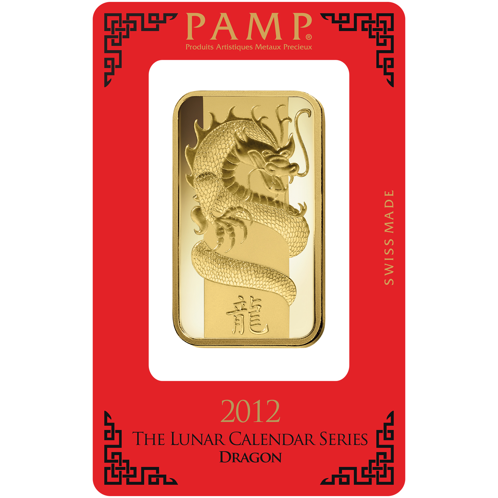 100 gram Gold Bar - PAMP Suisse Lunar Dragon