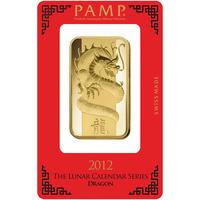 100 gram Gold Bar - PAMP Suisse Lunar Dragon