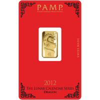 5 gram Gold Bar - PAMP Suisse Lunar Dragon