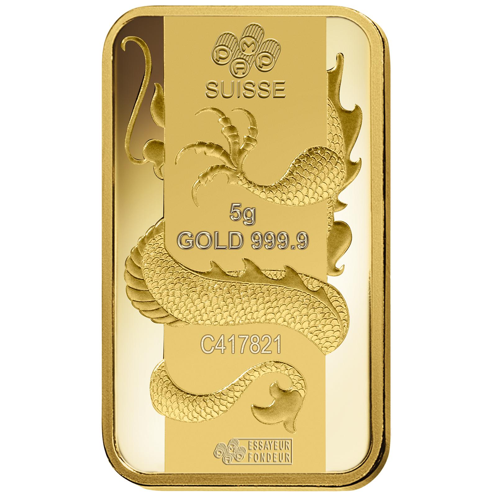 5 grammi lingottino d'oro puro 999.9 - PAMP Suisse Lunar Drago