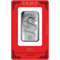1 oz Silver Bar - PAMP Suisse Lunar Dragon