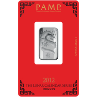 Lingotin d'argent de 10 grammes - PAMP Suisse Lunar Dragon