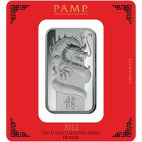 100 gram Silver Bar - PAMP Suisse Lunar Dragon